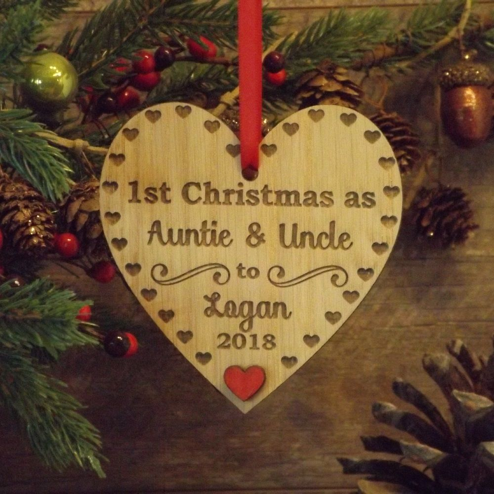 Christmas Heart Decoration.1st First Christmas As Auntie Uncle Personalised Heart Decoration Gift