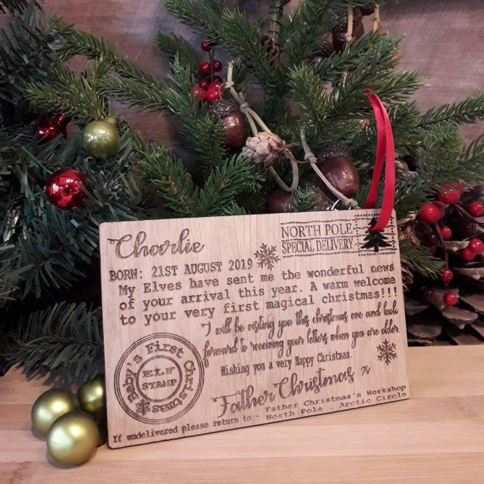Babys 1st First Christmas Letter from Santa Father Christmas Wood ...