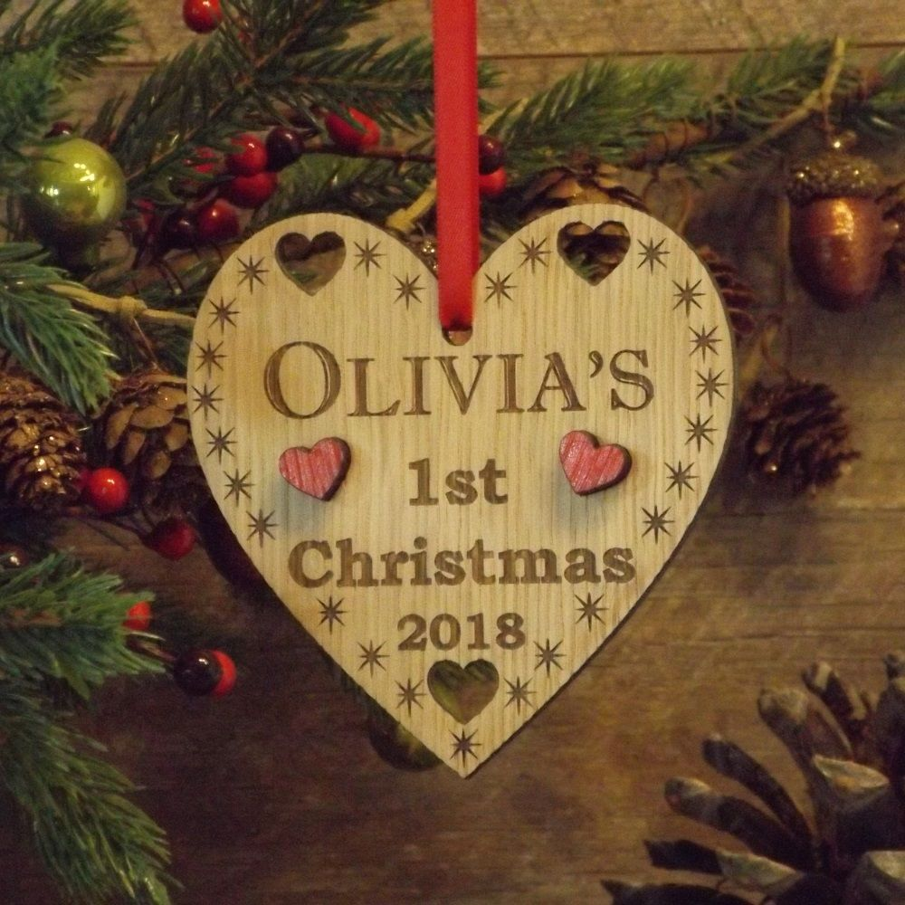 Babys first 1st christmas personalised wooden heart for Babys first christmas decoration