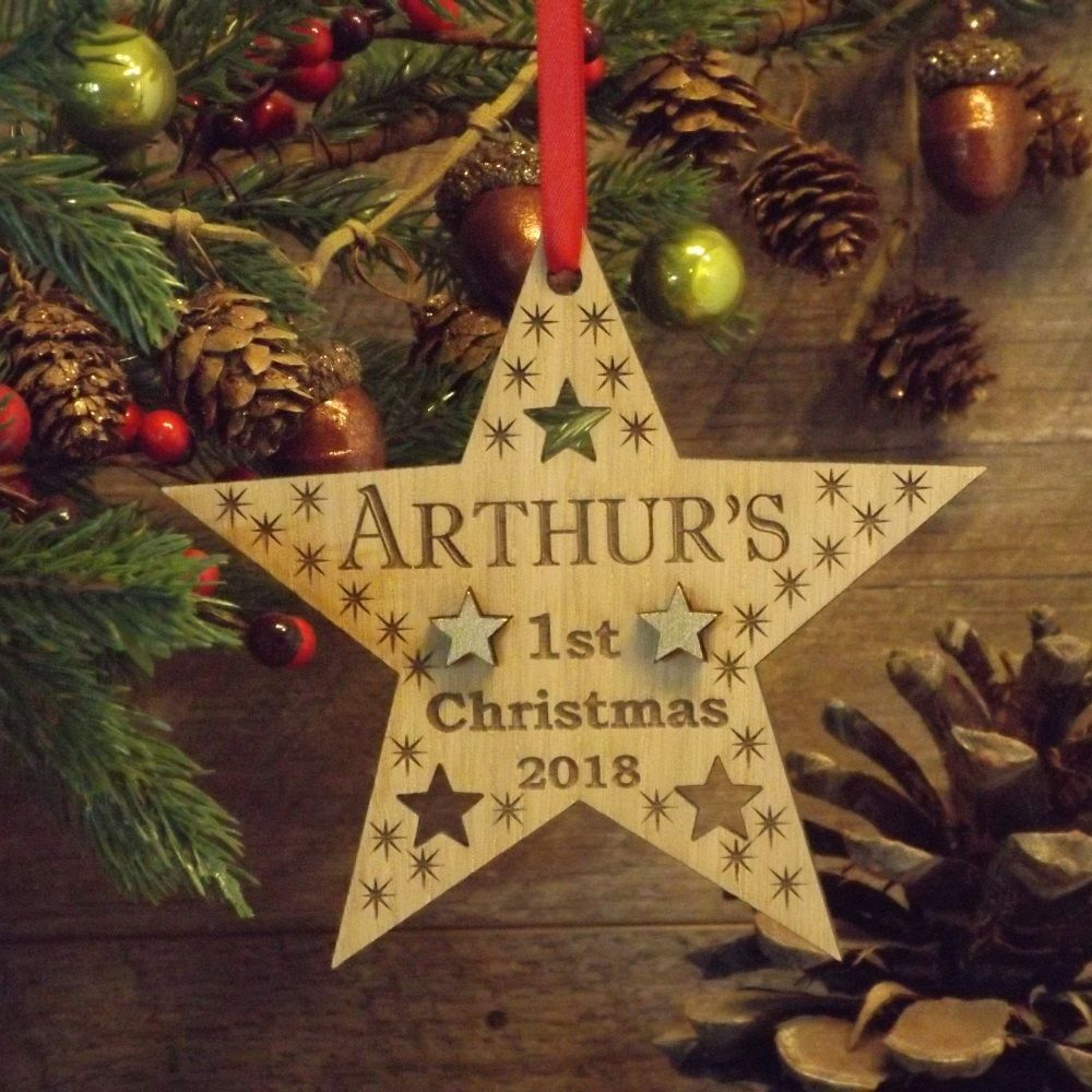 Babys First 1st Christmas Personalised Wooden Star Decoration Gift