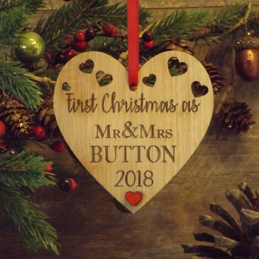 Christmas Heart Decoration.First 1st Christmas As Mr Mrs Married Personalised Heart Decoration Gift