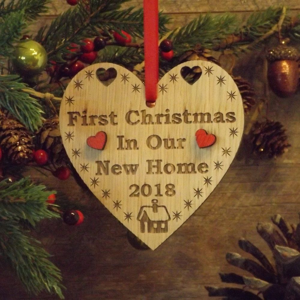 First 1st christmas in our new home heart decoration for Heart decorations home