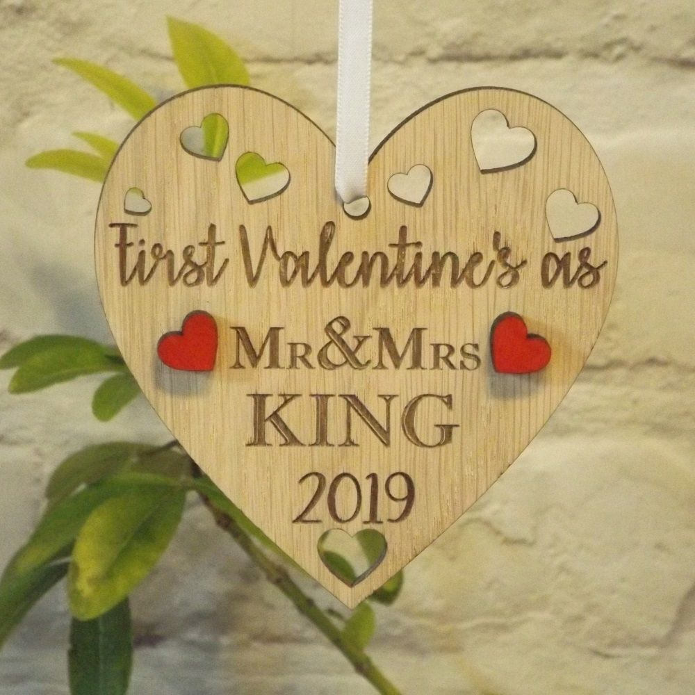 First 1st Valentine s as Mr & Mrs Married Personalised Heart Decoration Gift