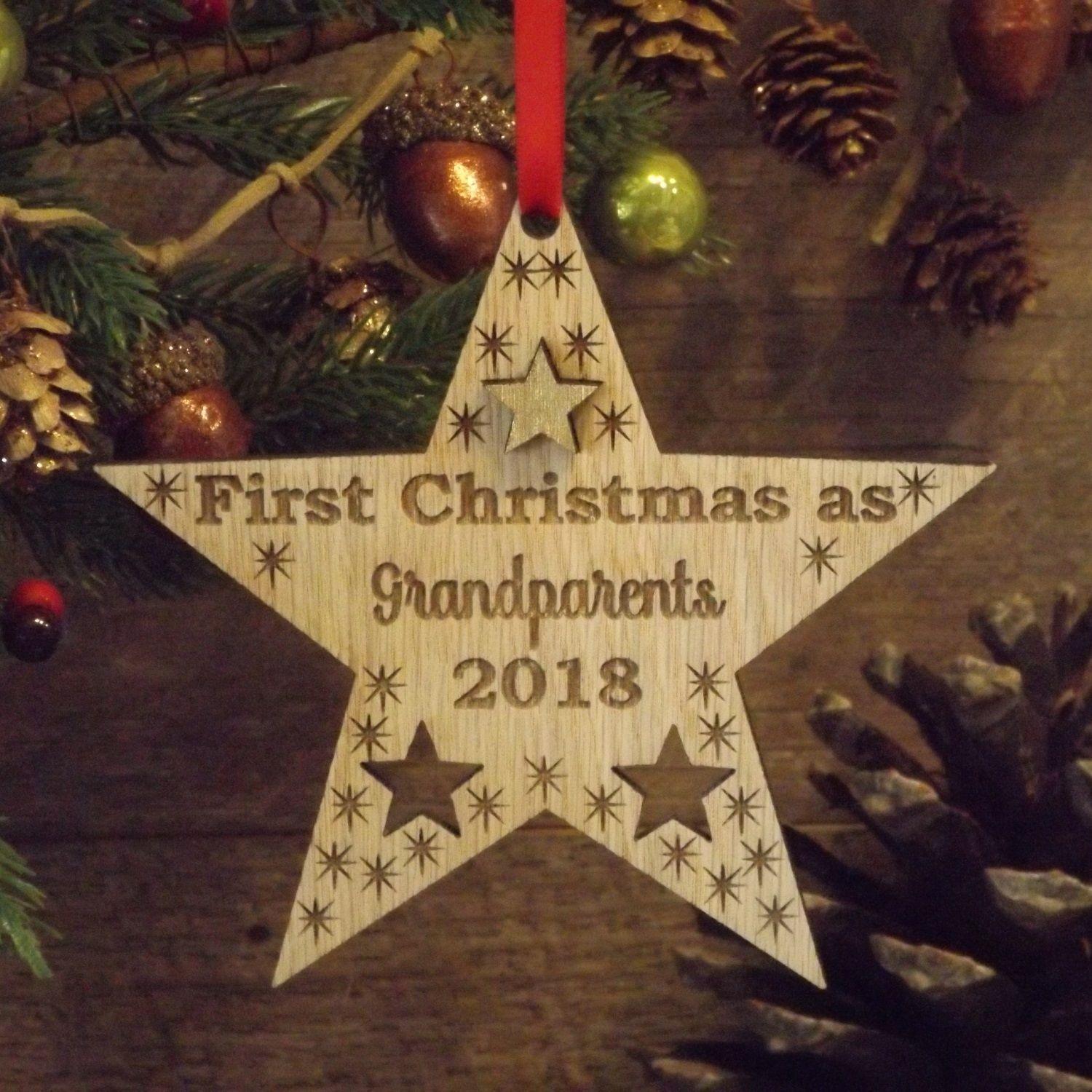 Grandparents First 1st Christmas Personalised Star