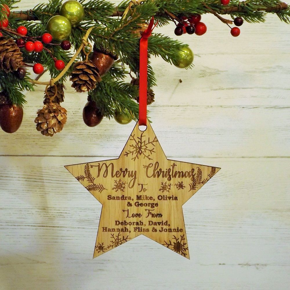 Merry Christmas Personalised Wooden Hanging Star Bauble Decoration