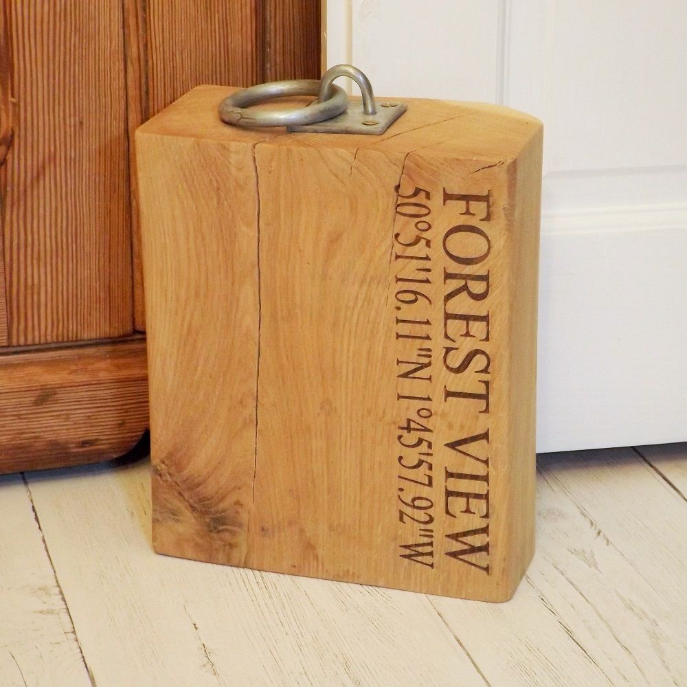 Personalised heavy oak wooden doorstop engraved wood door stop for Door stop idea