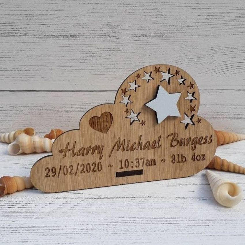 Personalised Engraved Wooden Christening Plaque Blue Pink or Ivory