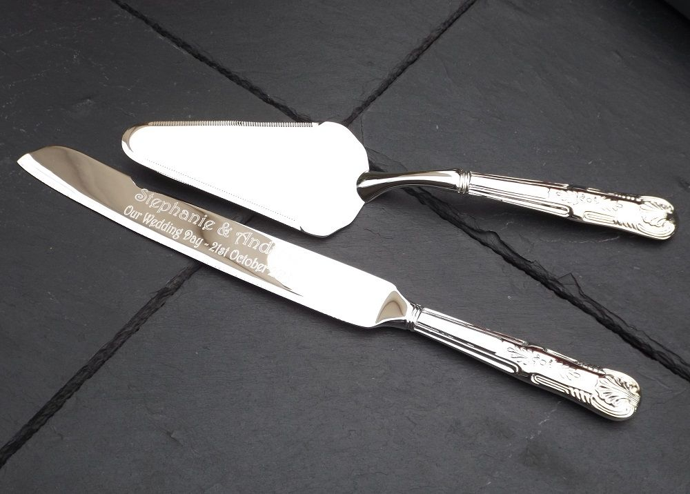 silver plated cake knife and server set personalised wedding gift. Black Bedroom Furniture Sets. Home Design Ideas
